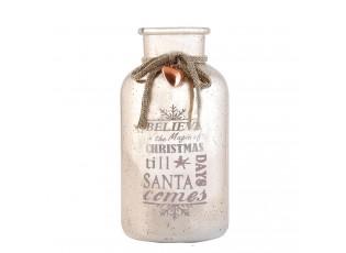 Růžová dekorační láhev / váza Christmas -  Ø 10*20 cm