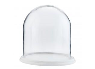Dřevěný podnos se skleněným poklopem - Ø 22*23 cm