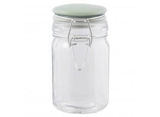 Skleněná úložná nádoba se zeleným víčkem - Ø 7*12 cm / 0.2L