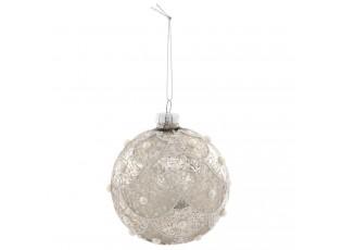 Stříbrná vánoční koule s perličkami - Ø 8 cm
