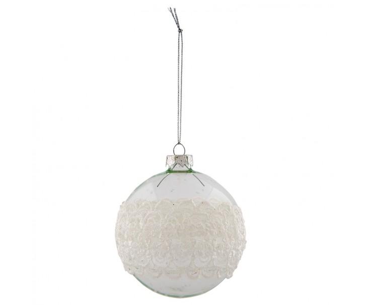 Vánoční koule s krajkou - Ø 8 cm