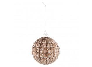 Třpytivá hnědá vánoční koule - Ø 8*9 cm