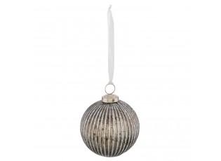 Skleněná vánoční koule stříbrná antik - Ø 10*12 cm