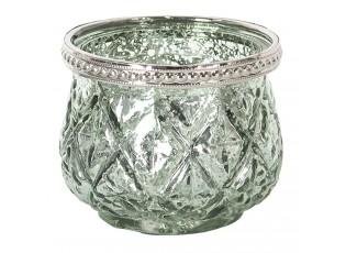 Zelený skleněný svícen na čajovou svíčku s kovovým zdobením.