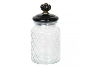 Ozdobná skleněná dóza s víčkem s úchytkou Noir – Ø 10*21 cm / 0,9L