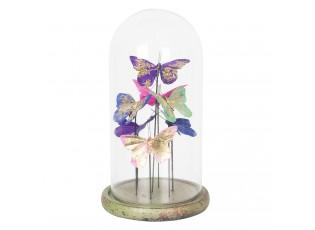 Skleněný poklop s dekorací motýlů - Ø 18*32 cm