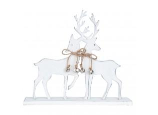 Bílá dřevěná dekorace Jeleni - 24*5*21 cm