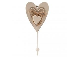 Dřevěný nástěnný háček Srdce - 7*3*15 cm