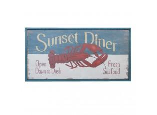 Nástěnná dřevěná cedule Fresh Seafood  - 31*3*16 cm