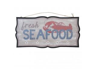 Nástěnná dřevěná cedule Seafood - 51*2*25 cm