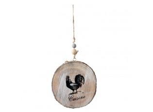 Dřevěná závěsná dekorace s kohoutem - 11*1*12 cm