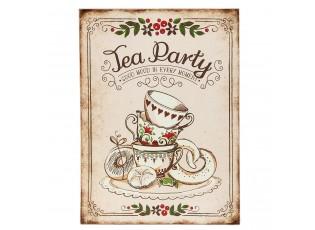 Nástěnná dřevěná cedule Tea Party - 30*1*40 cm