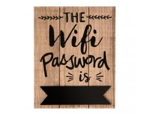 Nástěnná dřevěná cedule na heslo Wifi - 16*1*20 cm