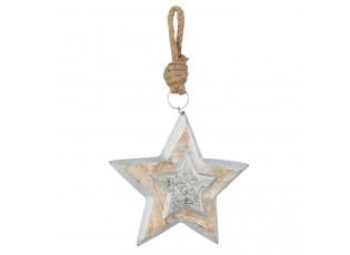 Závěsná dřevěná hvězda - 16*3*16 cm