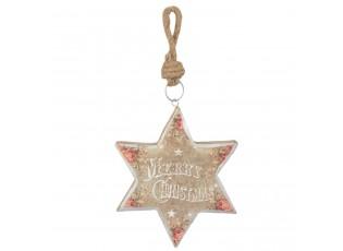 Závěsná dřevěná hvězda Merry Christmas - 14*2*16 cm