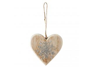 Závěsné dřevěné srdce s ozdobou - 11*1*11 cm