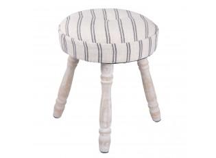 Dřevěná stolička s patinou a textilním sedákem Esme – Ø 30*37 cm