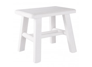 Bílá dřevěná stolička s patinou - 26*20*23 cm