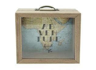 Dřevěná pokladnička s mapou Adventure - 18*7*18 cm