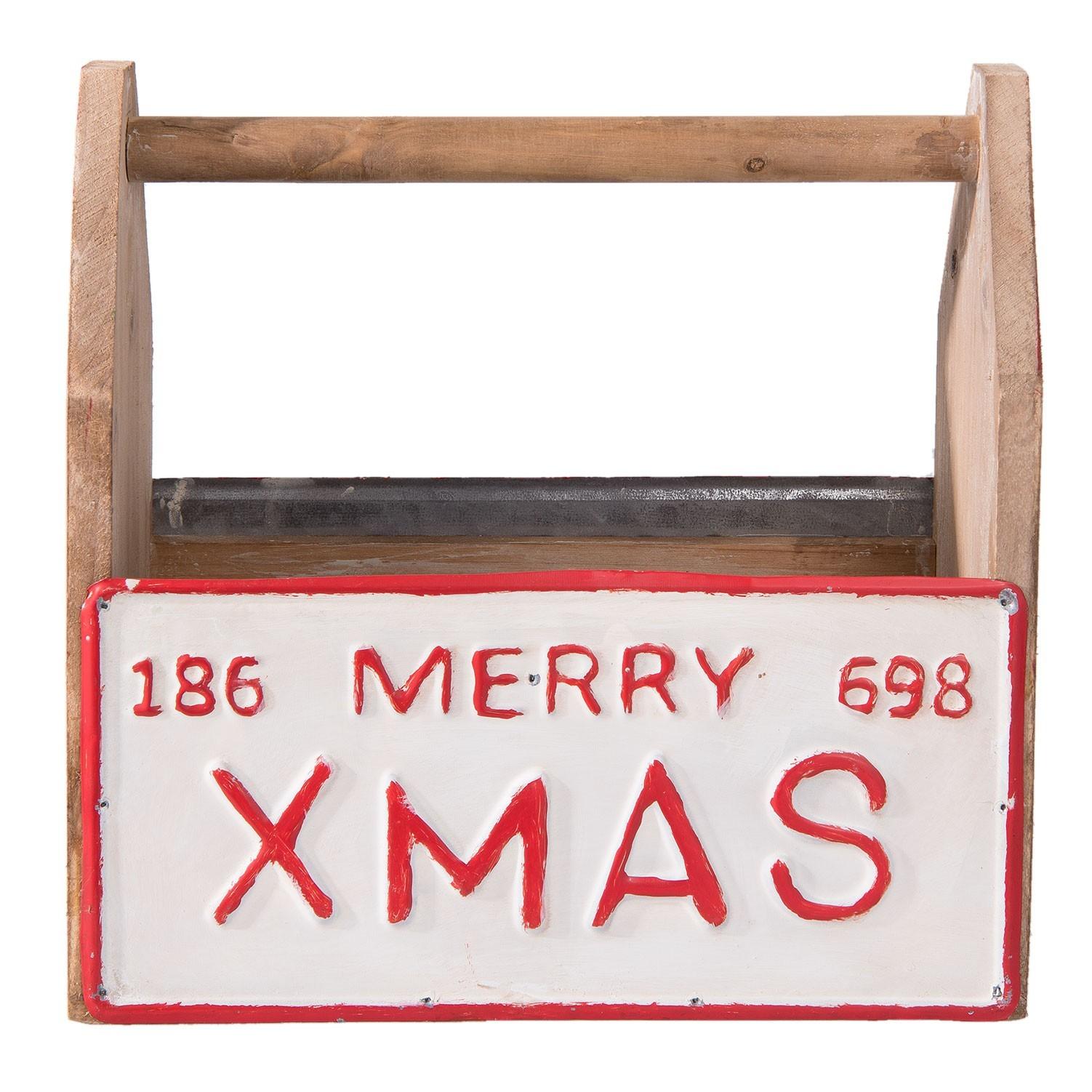Clayre & Eef Dekorační dřevěná přepravka Merry Xmas - 30*13*30 cm