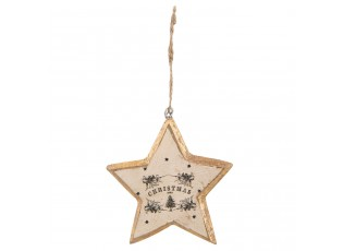 Závěsná dřevěná vánoční hvězda se zlatým okrajem- 11*1*12 cm