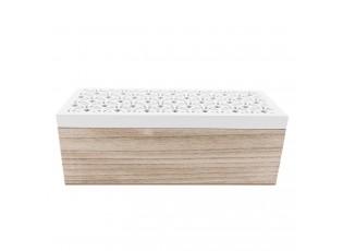 Dřevěná krabička s bílým vyřezávaným víkem se 3 přihrádkami - 23*9*8 cm