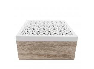 Dřevěná krabička s bílým vyřezávaným víkem - 18*18*8 cm