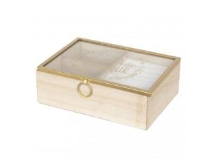 Dřevěná šperkovnice se skleněným víkem  - 18*6*13 cm