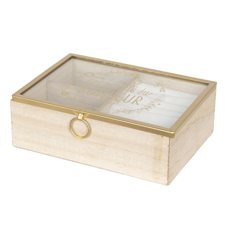 Clayre & Eef Dřevěná šperkovnice se skleněným víkem - 18*6*13 cm