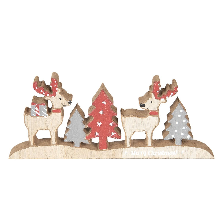 Vánoční dřevěná dekorace se soby a stromky - 22*9*2 cm