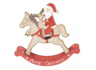 Dřevěná dekorace Santa na koni - 22*22*5 cm