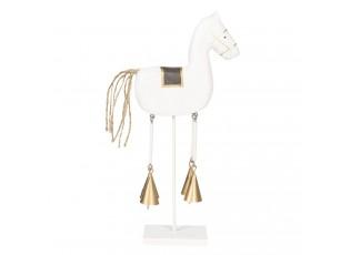 Dekorace bílý dřevěný koník - 28*5*13 cm