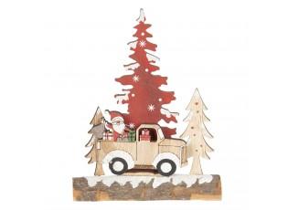 Dřevěná vánoční dekorace se Santou - 6*5*20 cm