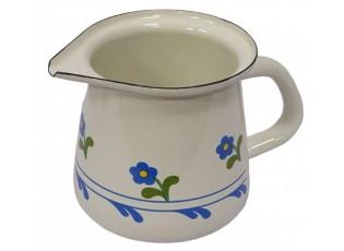 Krémová květinová smaltovaná mlékovka s víčkem - 0.4L