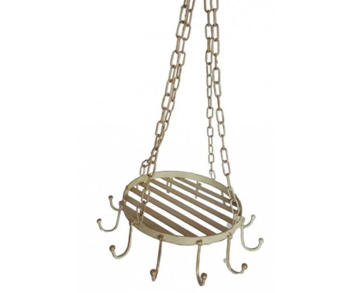 Krémová kovová závěsná polička s háčky a patinou - Ø 27 Ø 37 *69 cm
