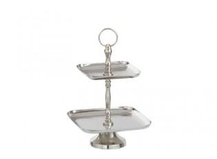 Stříbrný čtercový kovový etažér - 20*20*29cm