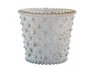 Šedý svícen na čajovou svíčku -  Ø 8*7 cm