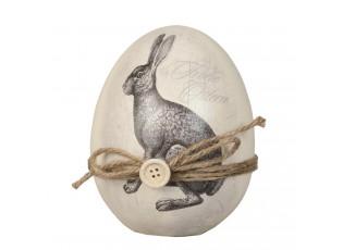 Dekorační vajíčko s motivem zajíce a mašličkou - Ø 12*14 cm