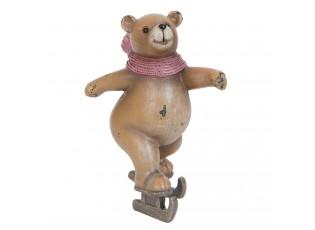 Dekorace medvěd na bruslích - 9*6*7 cm