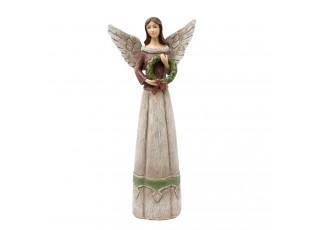 Dekorační anděl s věnečkem - 15*7*33 cm