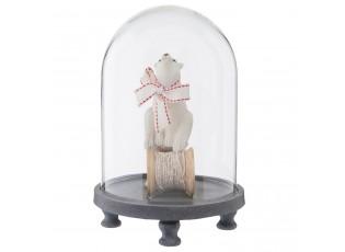 Skleněný poklop dekorace medvěd - ∅ 14*21 cm