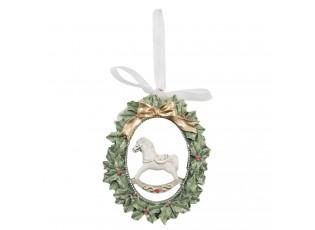 Závěsná vánoční dekorace se jmelím a koníkem - 7*1*8 cm