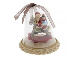 Vánoční dekorace Santa na houpacím koníkovi ve zvonku – Ø 8*8 cm