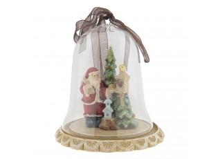 Vánoční dekorace Santa ve zvonku – Ø 8*8 cm