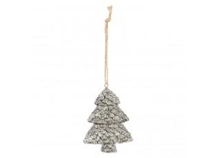 Závěsný stříbrný vánoční stromeček - 6*2*8 cm