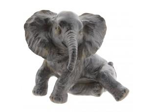 Šedá dekorace Sedící slon - 20*19*17 cm