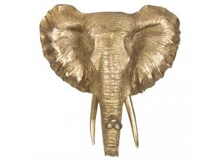 Nástěnná zlatá dekorace Slon - 44*42*23 cm