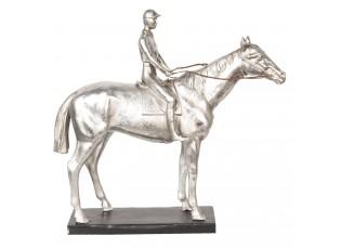 Stříbrná socha Jezdec na koni - 44*14*42 cm