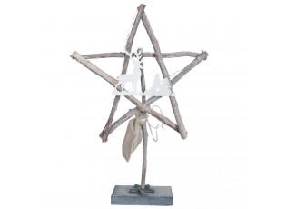 Dřevěná hvězda s jelenem - 31*7*45 cm