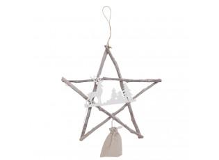 Závěsná vánoční dřevěná hvězda - 39*3*38 cm